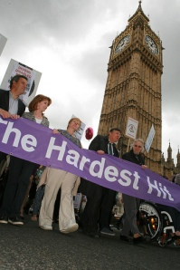 Hardest Hit campaigners in front of Big Ben